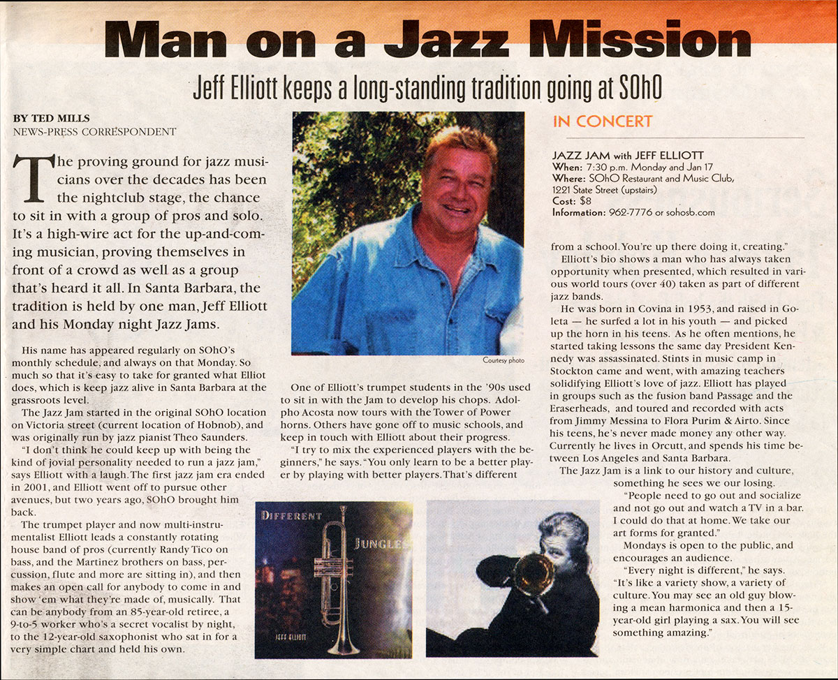 Man on a Jazz Mission - Jeff Elliott keeps a long-standing tradition going at SOhO
