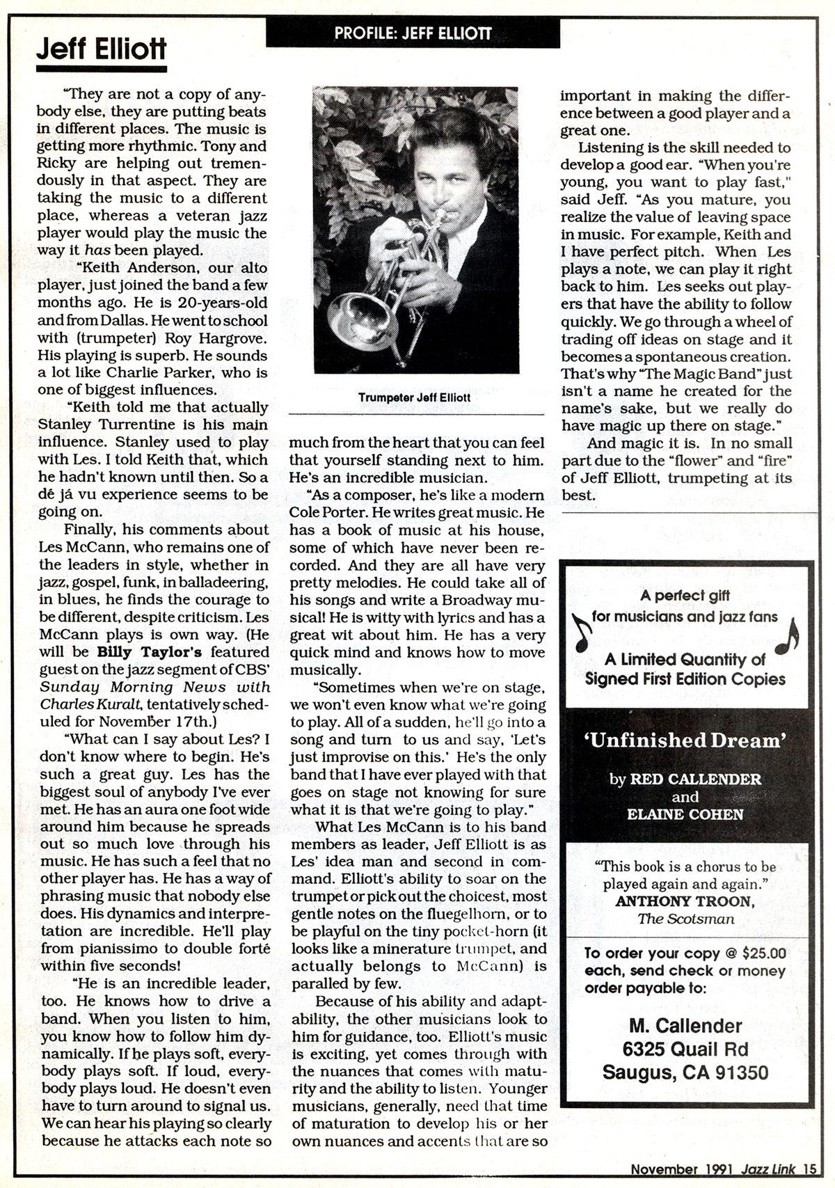 "Jeff Elliott, Master of the ""fire"" and the ""flower,"" Jazz Link, Nov. 1991"